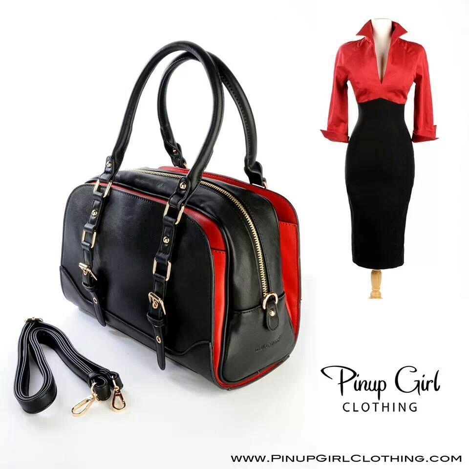 Red Lauren dress and Lucille handbag