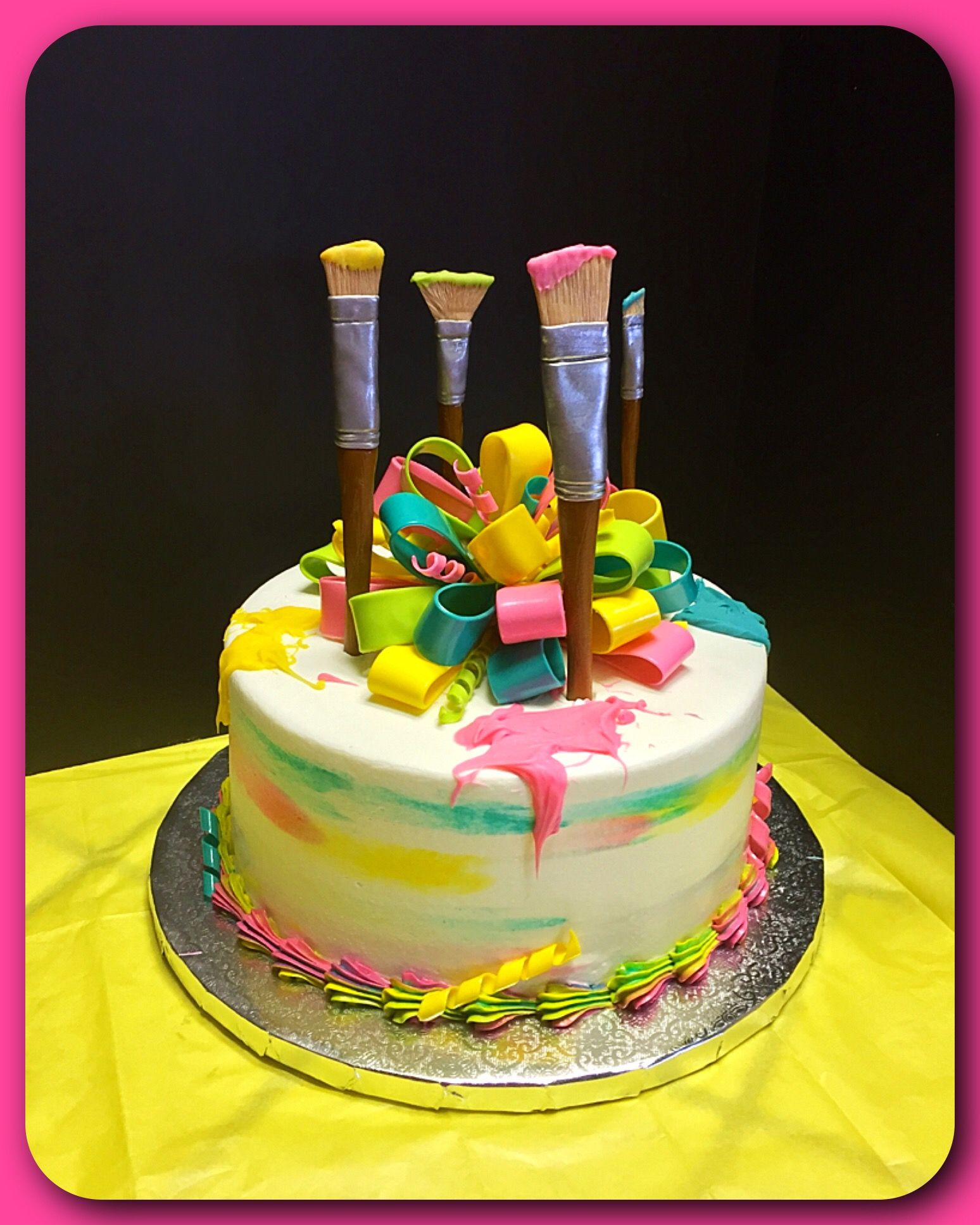 An Artist Themed Cake Complete With Fondant Paint Brushes