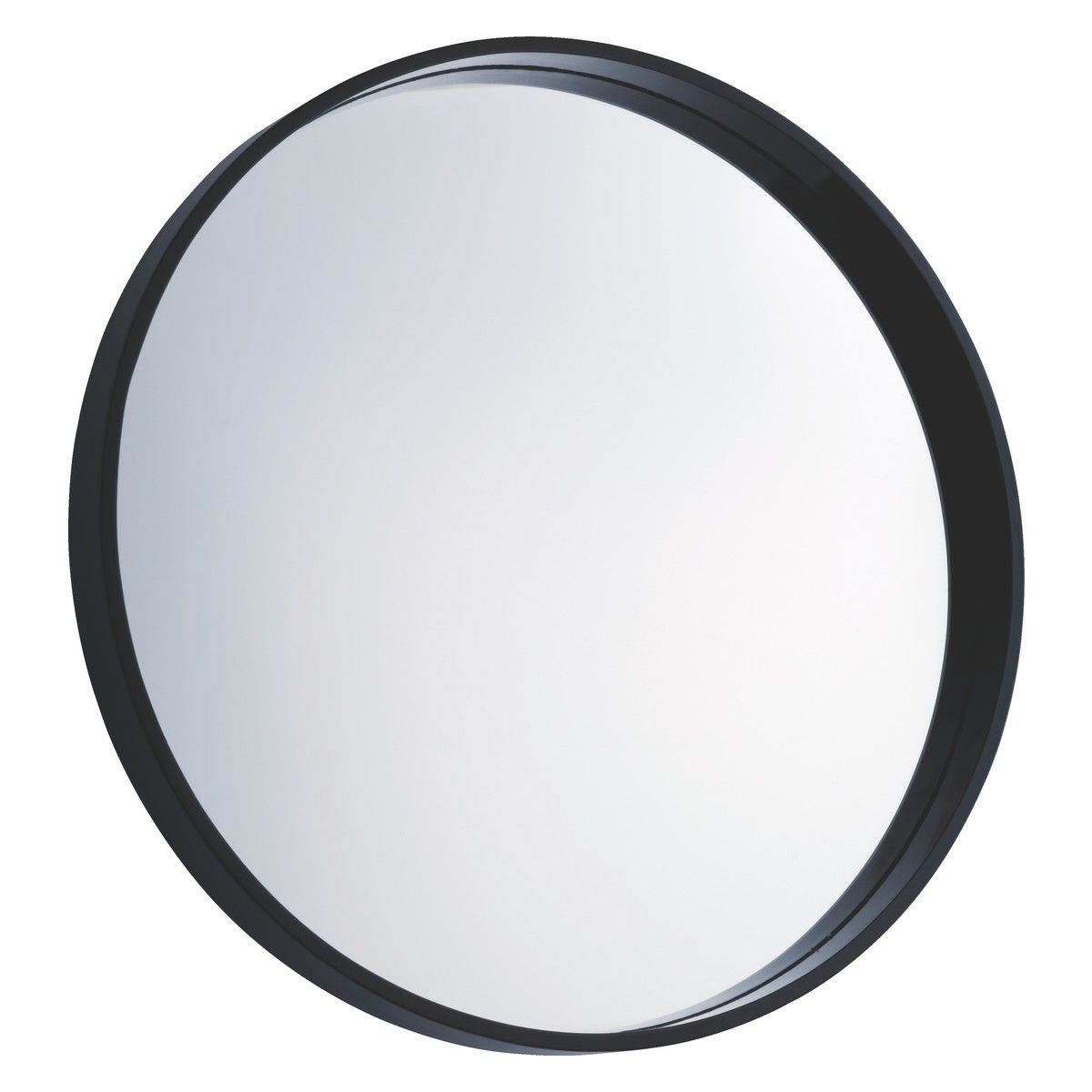 Aimee black high gloss round wall mirror dcm walls downstairs