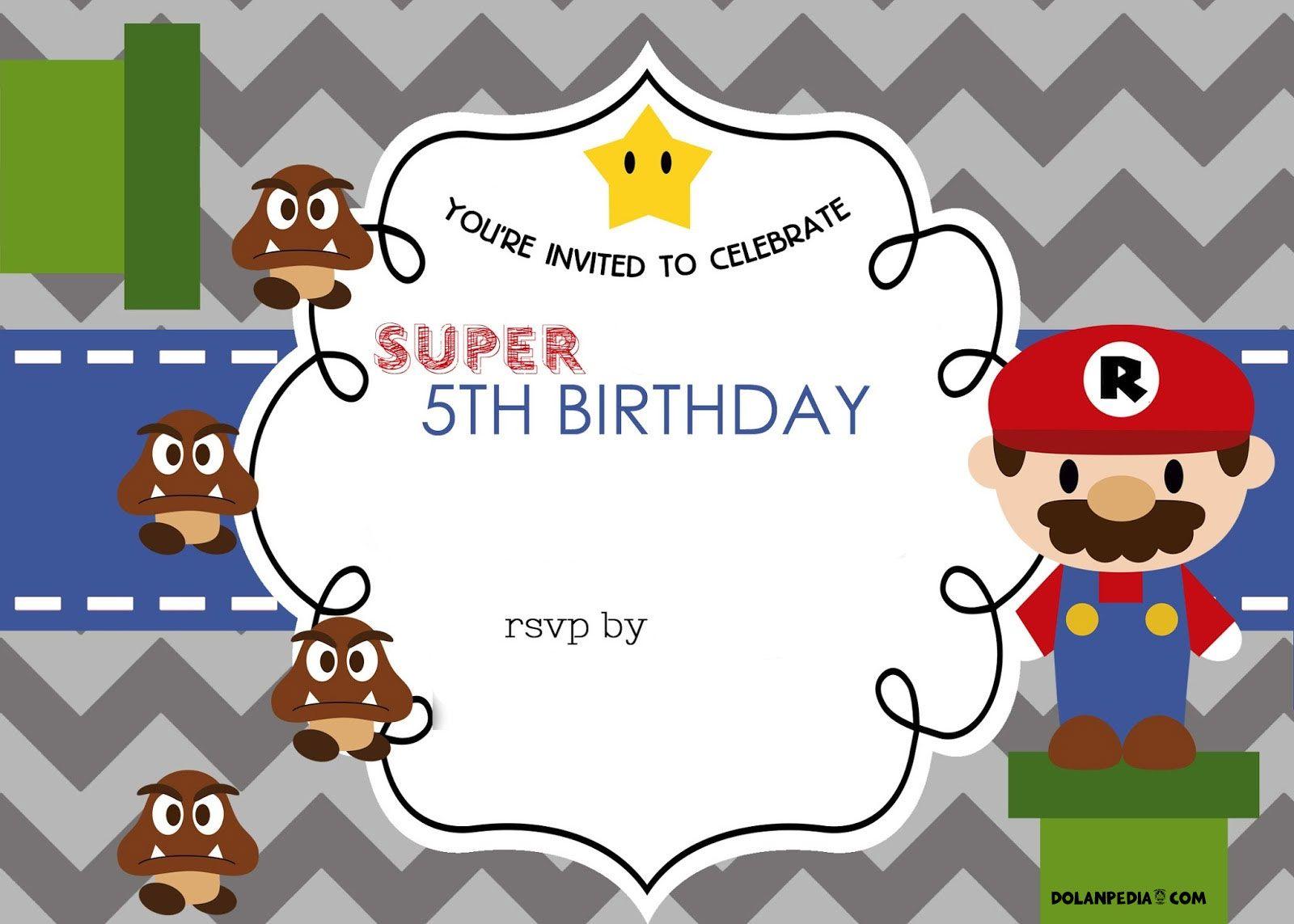Free FREE Template Mario Bros 5th Birthday Invitation