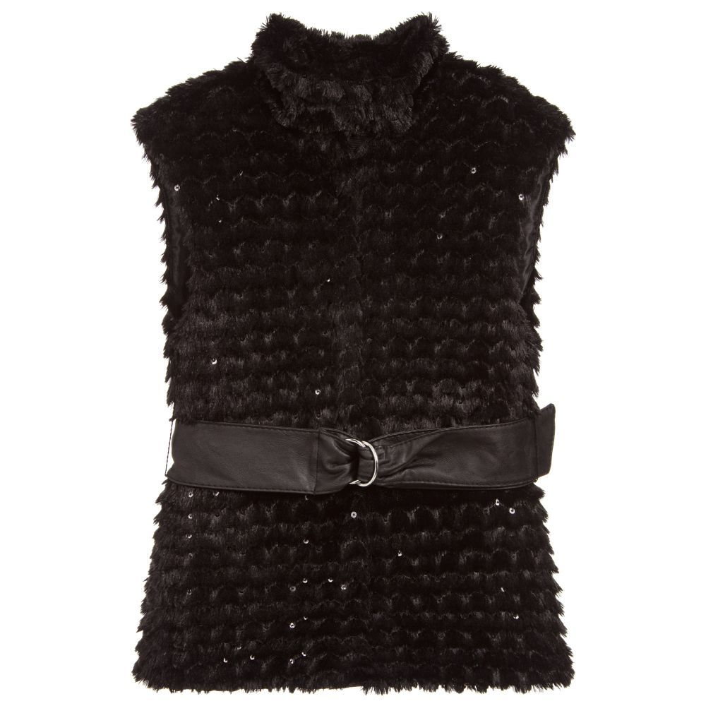 caccaa2fb8d7 Girls Black Belted Gilet