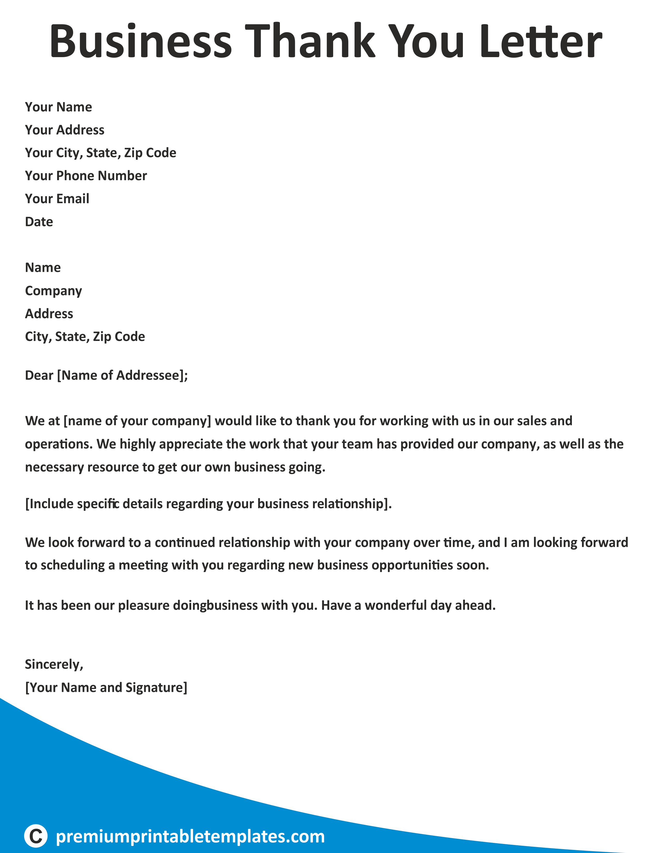 Business Thank You Letter Business letter template