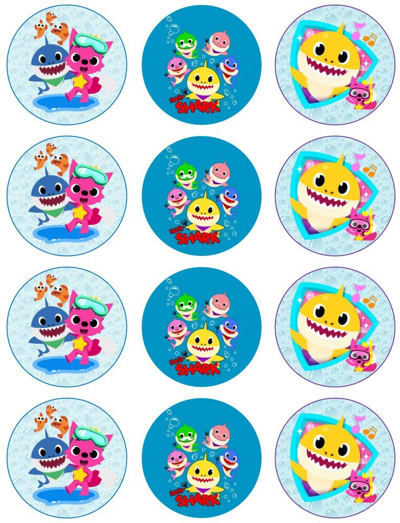 BABY SHARK HAPPY BIRTHDAY PERSONALIZED STICKERS // FAVOR TAGS DIFFERENT SIZES
