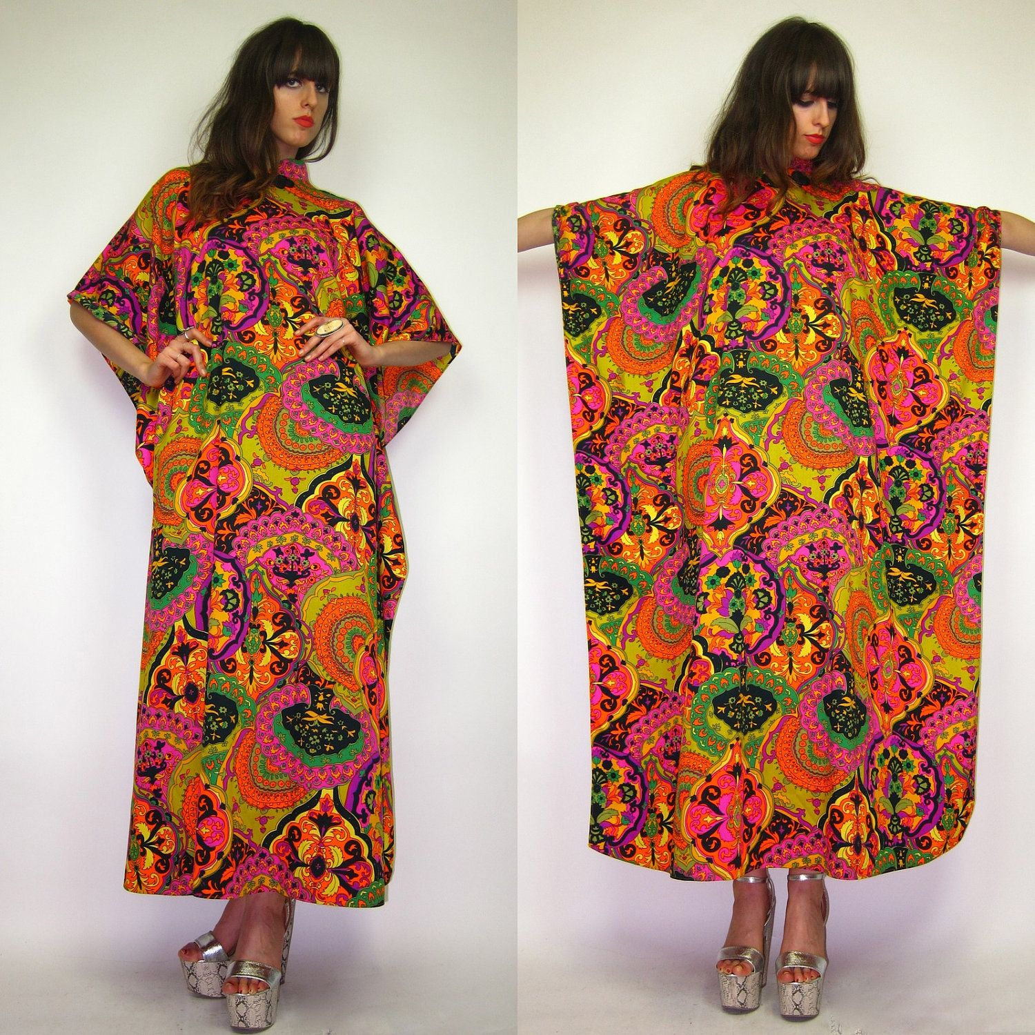 8547338d206 1960 70 s Psychedelic floral demask moo moo chic hippie caftan dress.   57.00
