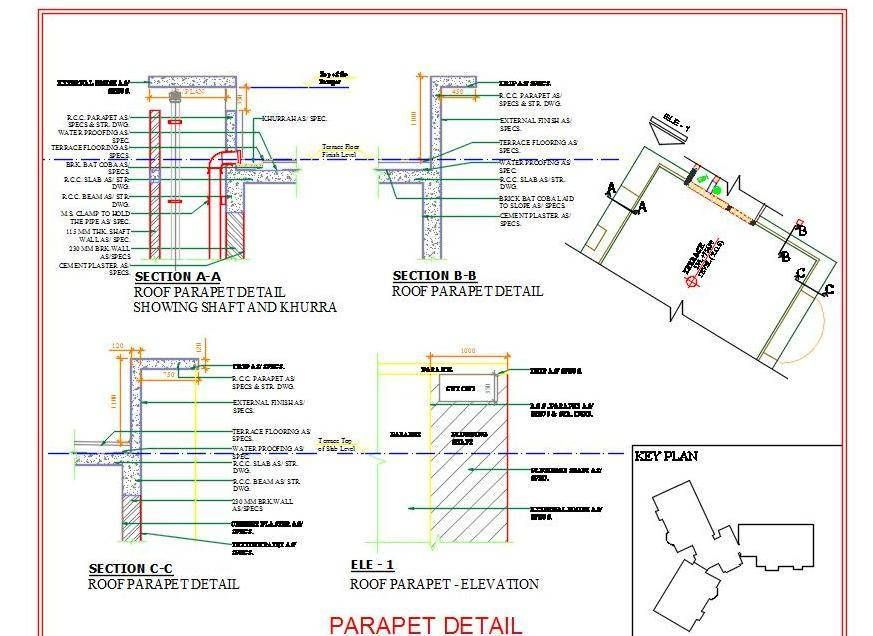 Autocad #drawing and #Structure detail of Roof Parapet Wall along