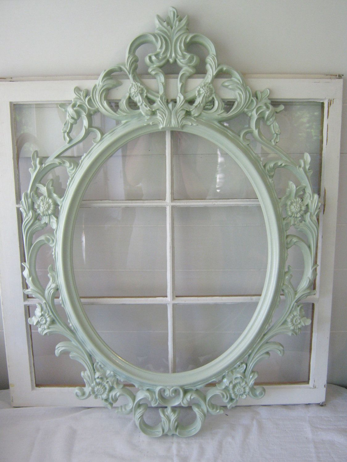 Shabby Chic Large Oval Baroque Ornate Open Frame - Mint - Gallery ...