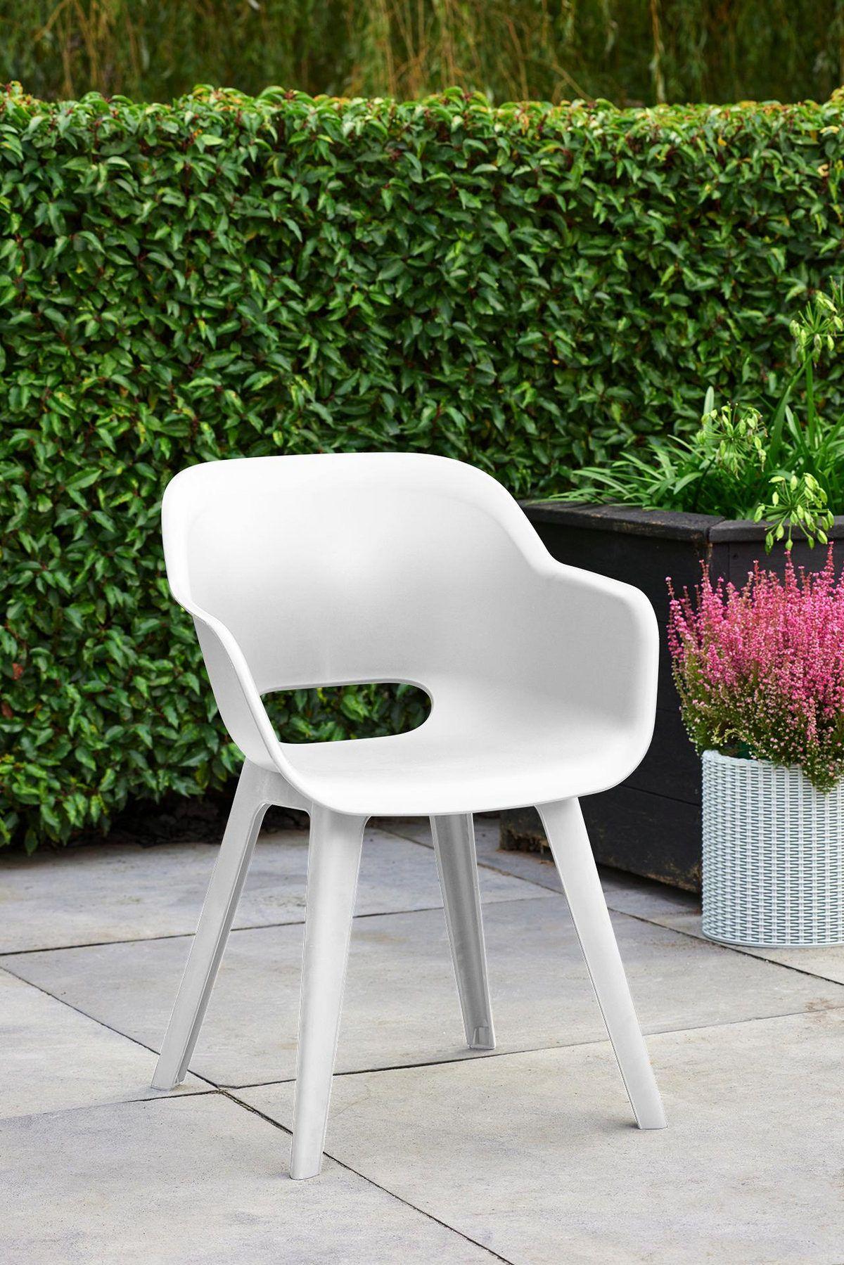 Gartensessel In Kunststoff Weiss In 2020 Gartenstuhle