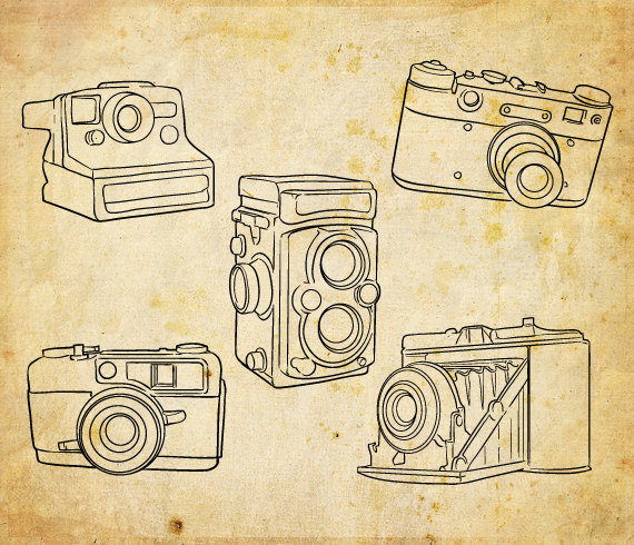 Polaroid hand. Drawn cameras clip art