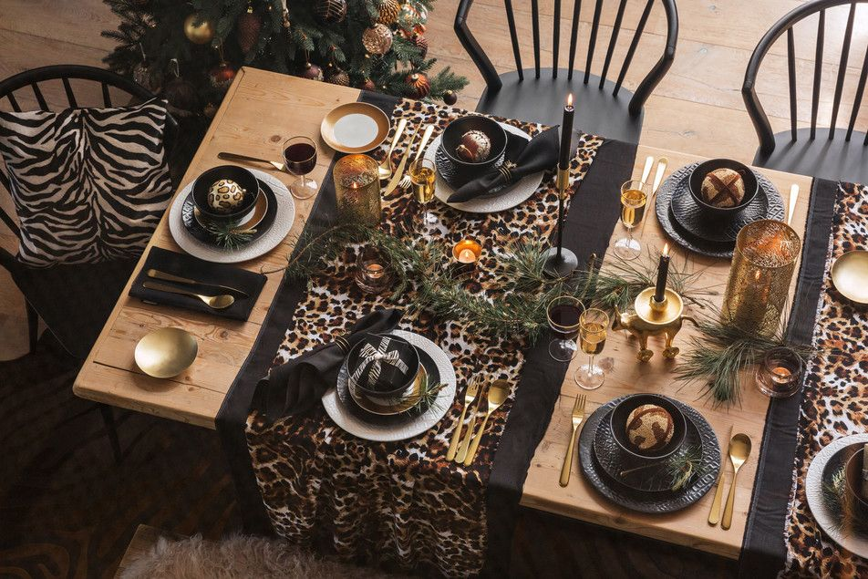 Leopard Cheetah Animal Print Tablescape Christmas With