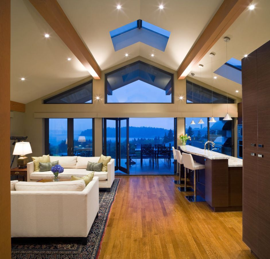 Vaulted Living Room Floor Plans: Admirable Vaulted Ceiling Lighting Ideas Picture For