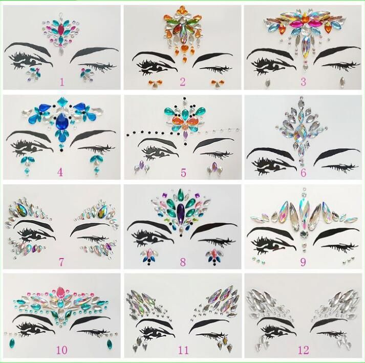 ... temporary tattoo Suppliers  Adhesive Face Gems Rhinestone Temporary  Tattoo Jewels Festival Party Body Glitter Stickers Flash Temporary Tattoos  Sticke a2065b0ea650