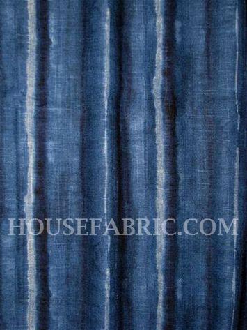 Ellen Degeneres Tulane Indigo Batik Tie Dyed Stripe Linen Fabric