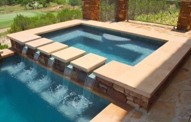 pool rechteckig fliesen garten wasserspiel design schwimmb der pinterest jacuzzi. Black Bedroom Furniture Sets. Home Design Ideas