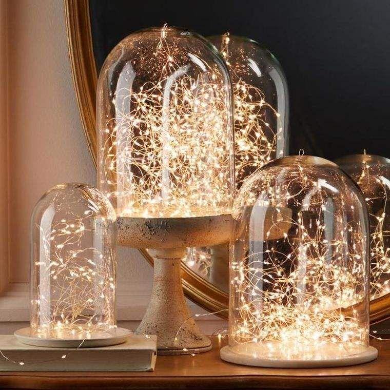 Centros de mesa de navidad con luces navideñas para una mesa ...