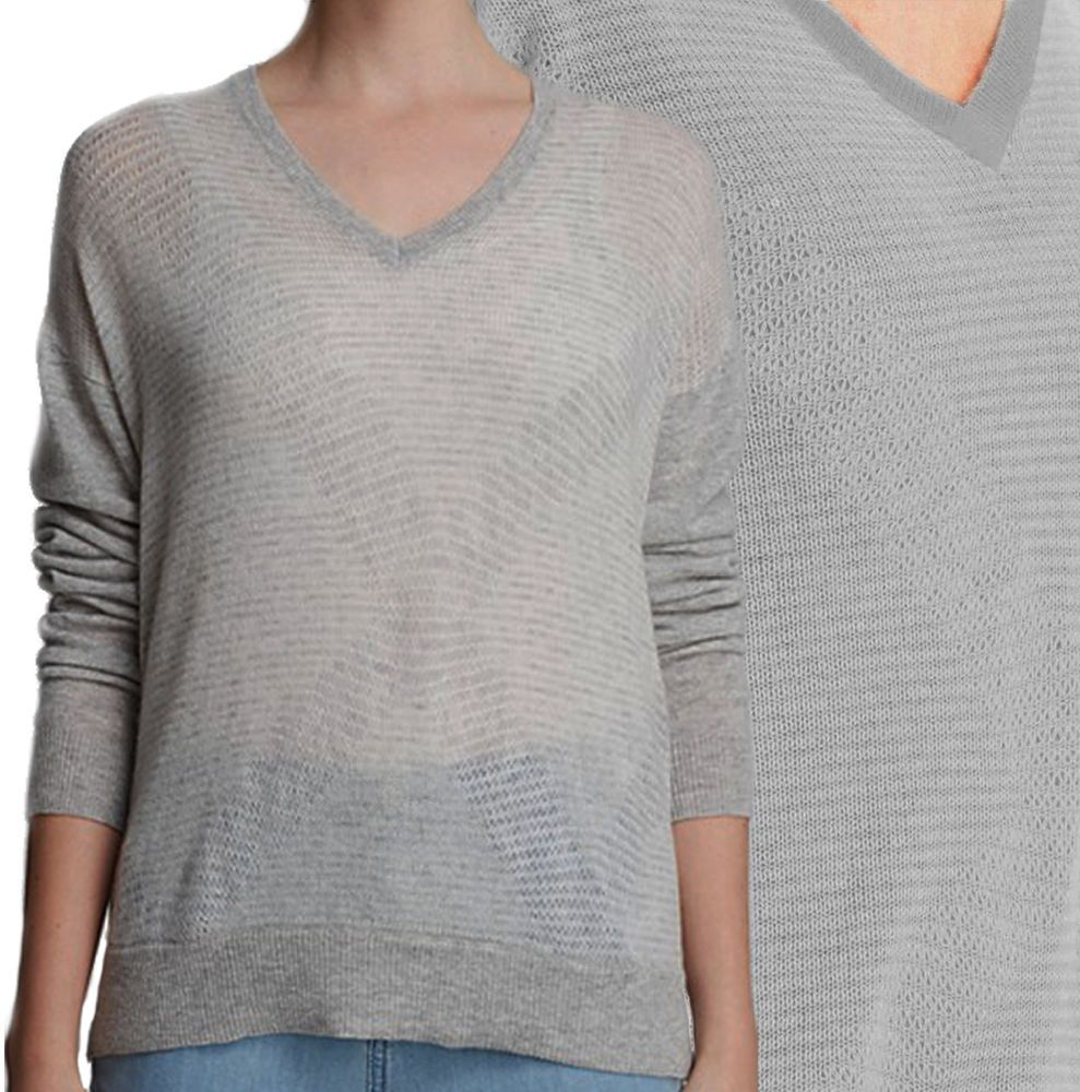 VINCE 100% CASHMERE Sweater Stripe Grey Top High Low Hi Pointelle ...