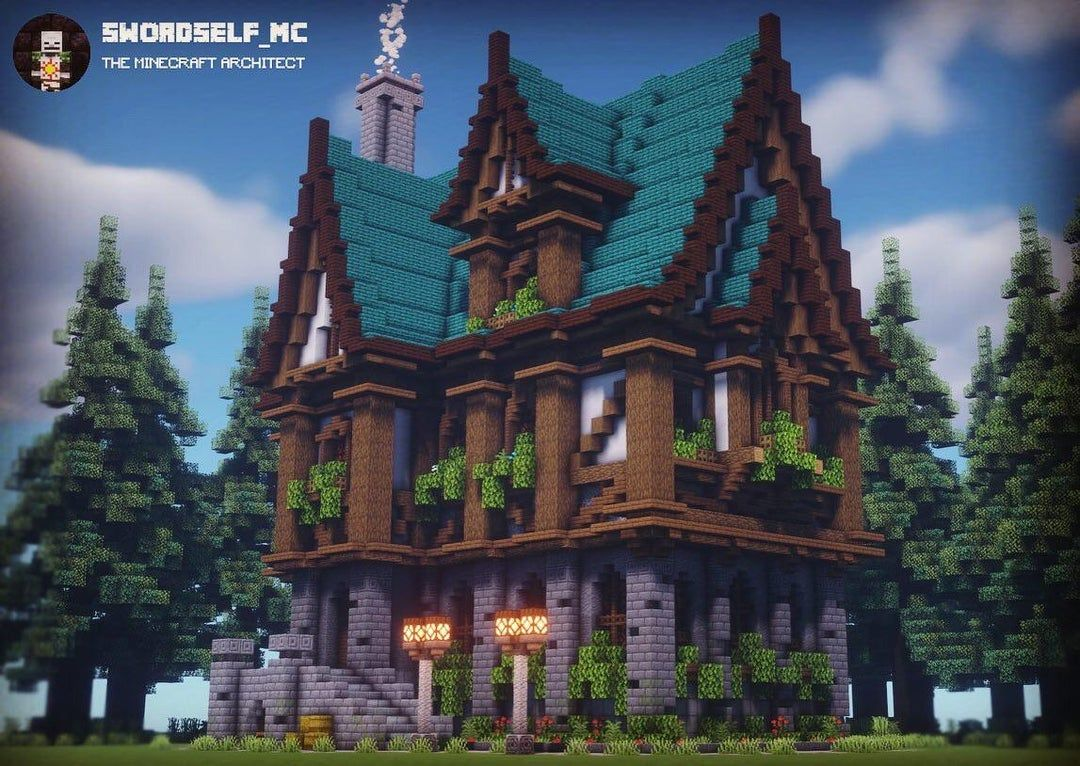I went bigger than my usual with this large medieval mansion. What
