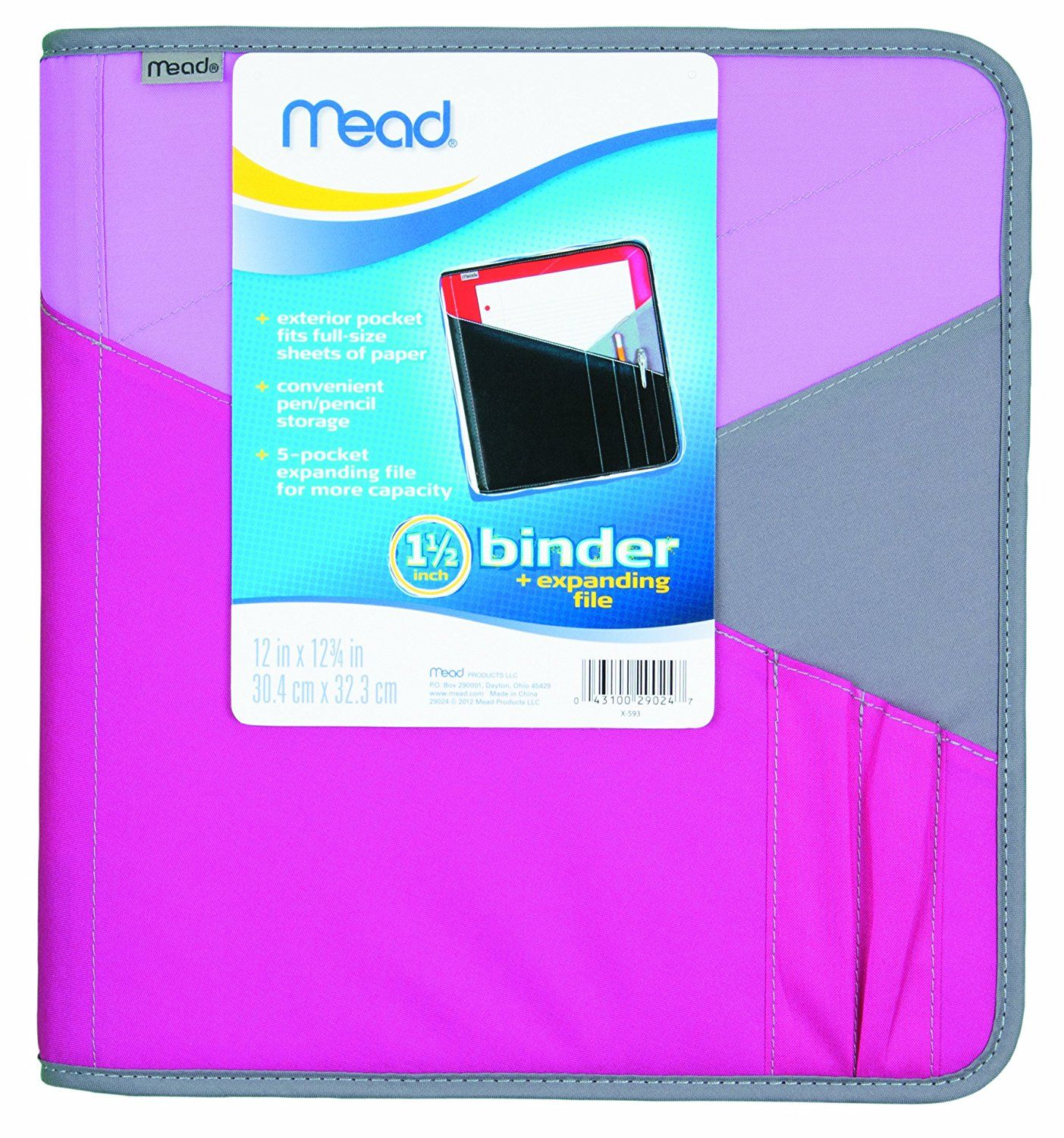 For Holding Activities All In One Place Amazon Com Mead 1 1 2 Inch Zipper Binder With Expanding File 3 Ring Binder Durable Zipper Binder Binder Mead