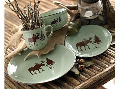 Rustic Wildlife Dinnerware Sets with Moose u0026 Bear Designs. Log Cabin ... & fresh meadow moose dinnerware   MOOSE!   Pinterest   Moose ...