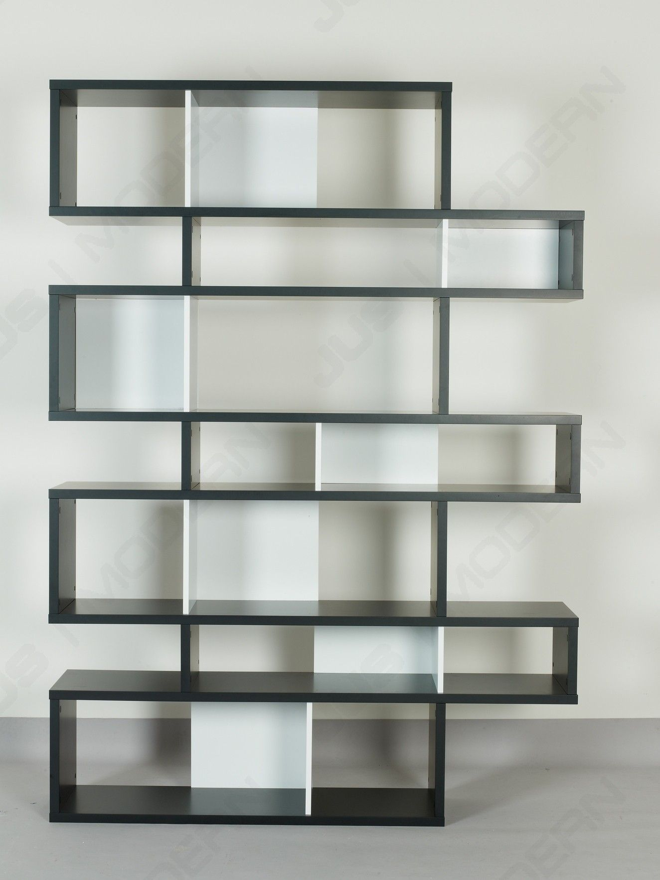 Impressive Design Of Black Wooden Shelving Unit Idea With White Shelves Dividers And Glass Doors Wooden Shelving Units White Wall Paint White Walls