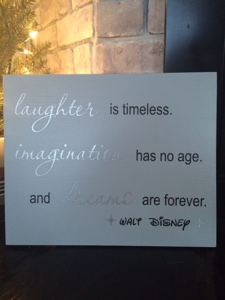 "11""x14"" Disney sign with silver glitter vinyl. FB/Bonnie's Custom Signs and Designs."