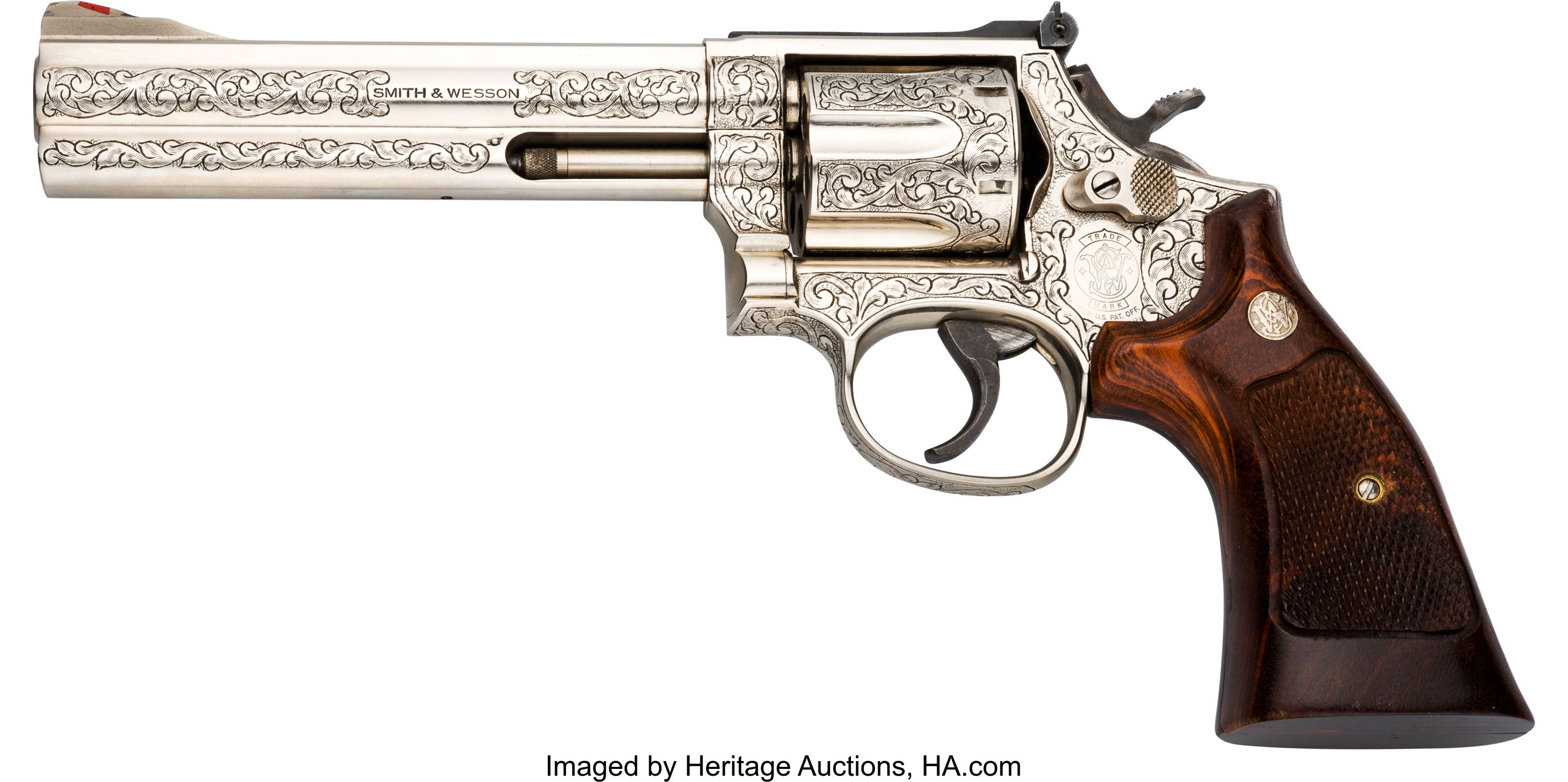 Engraved Smith & Wesson Model 586 Double Action Revolver  Serial no