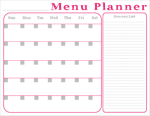 Free Printable  Monthly Menu Planner With Grocery List  Foody