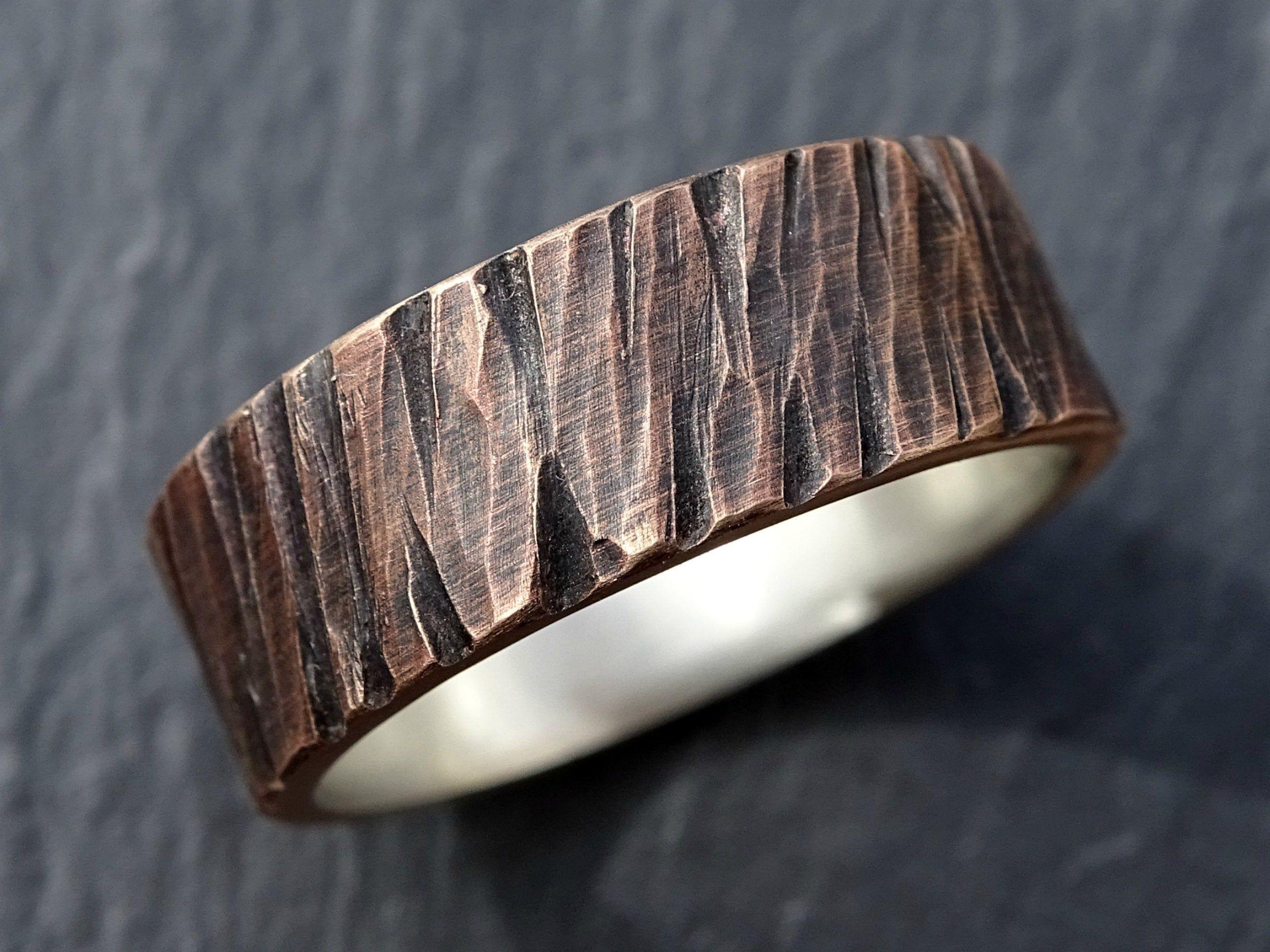 Bronze Wedding Ring Men Cool Mens Ring Bronze Silver Rugged Etsy In 2021 Mens Wedding Rings Cool Rings For Men Bronze Wedding