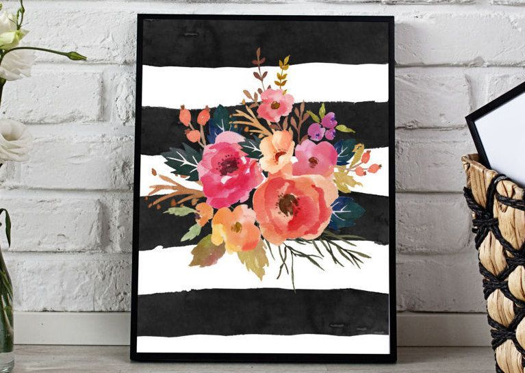 Pink flowers black stripes Watercolor Florals Flower Bouquet black Stripes Girls Nursery Printable Print Wall Art Nursery Decor Watercolor by MINTablePrintables on Etsy