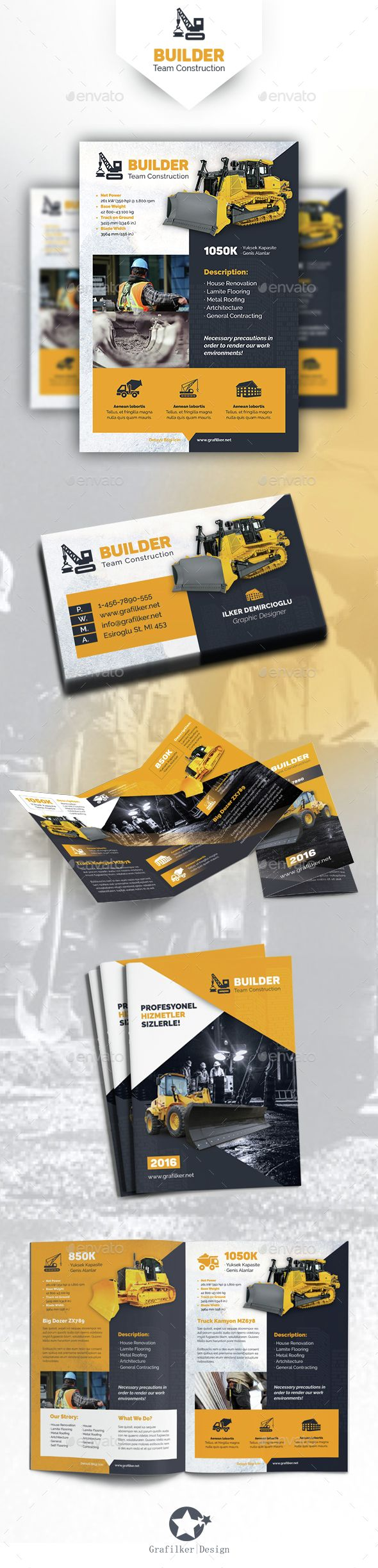 Construction Bundle Templates Flyer Template Construction And - Construction brochure templates