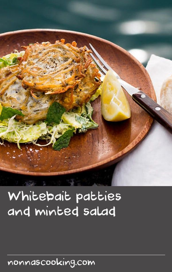 Whitebait patties and minted salad | The secret behind a good whitebait patty (or whitebait fritter, depending on which coast of New Zealand you are on) is concentrating on the whitebait. It doesn't need flour or any other fillers, just a touch of egg to hold the whitebait together and that's it. Flavouring the frying oil with a touch of ghee also adds an excellent flavour.