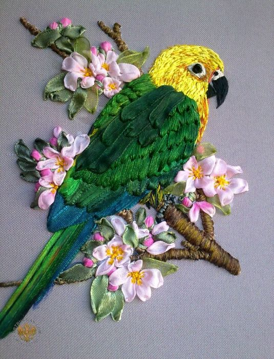 Parrot ribbon embroidery silk pinterest