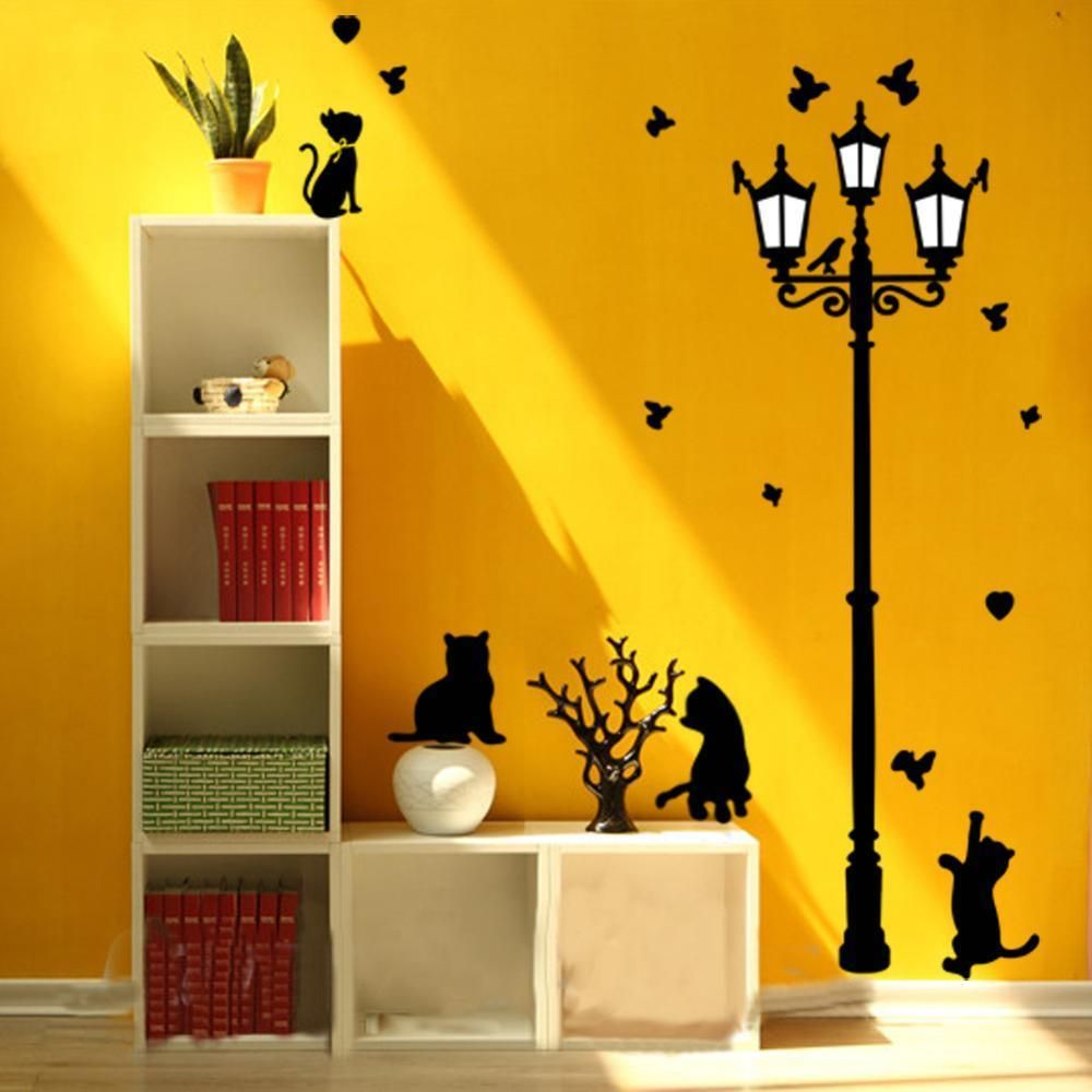 Fashion Large Cat Wall Sticker Lamp and Butterflies Stickers Decor ...