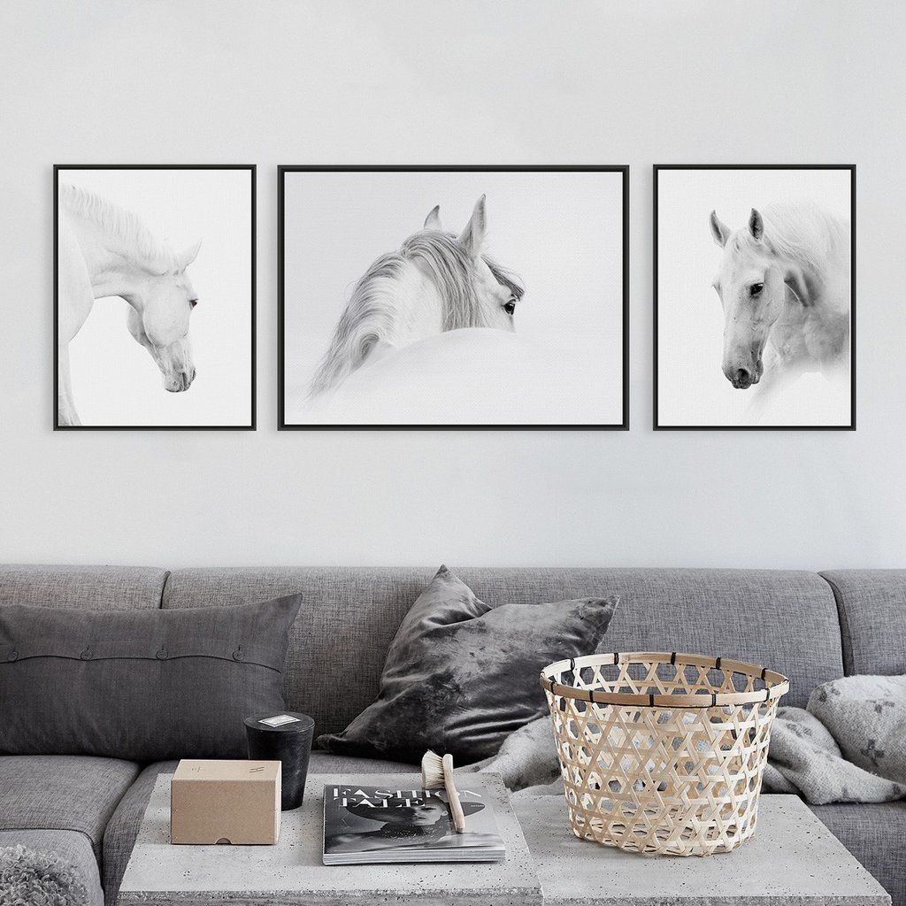 Wall Art Black Horse : Triptych modern minimalist black white horse animal head