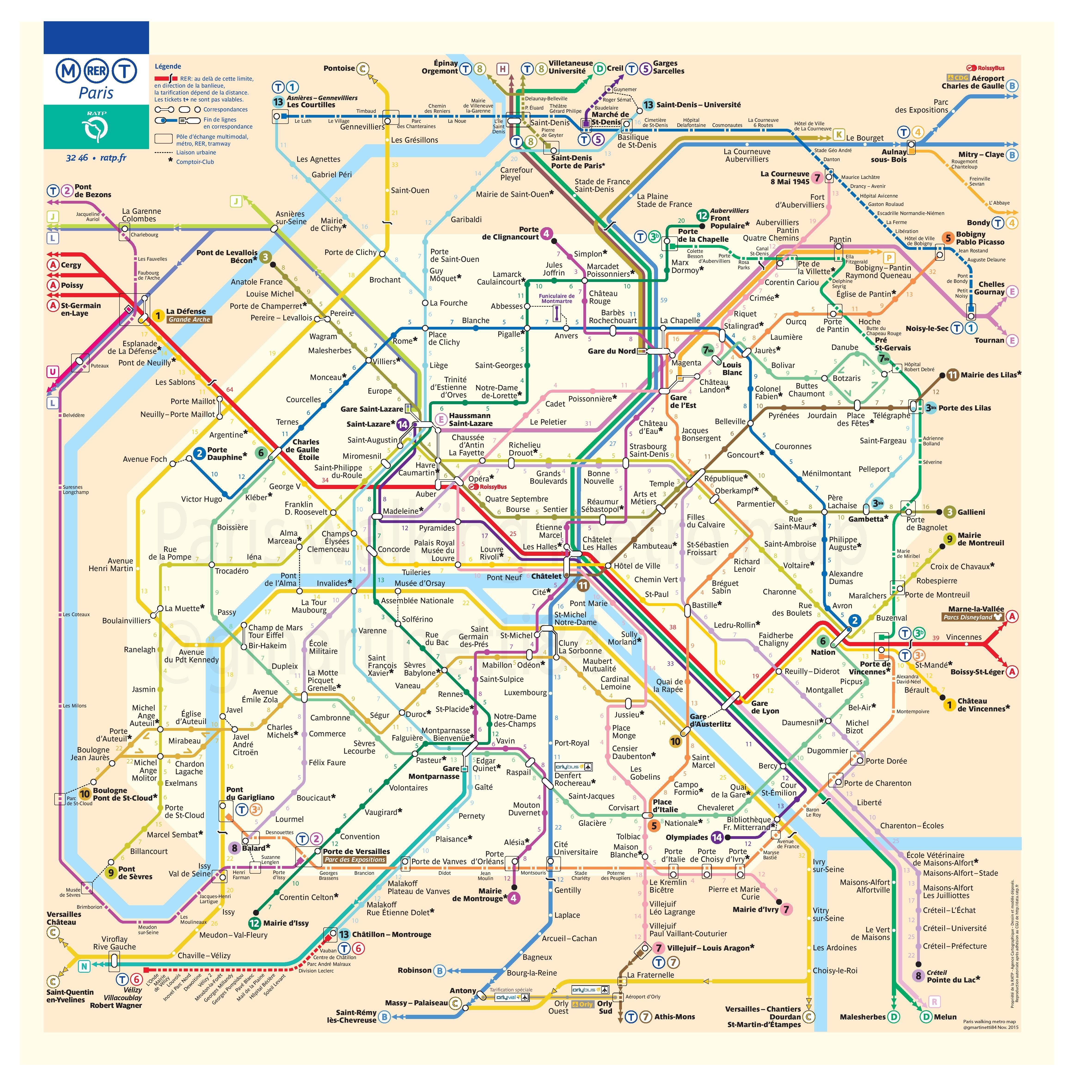 carte du métro parisien