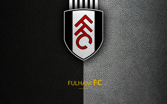 Download wallpapers Fulham FC, 4K, English football club, logo, Football League Championship, leather texture, Fulham, UK, EFL, football, Second English Division