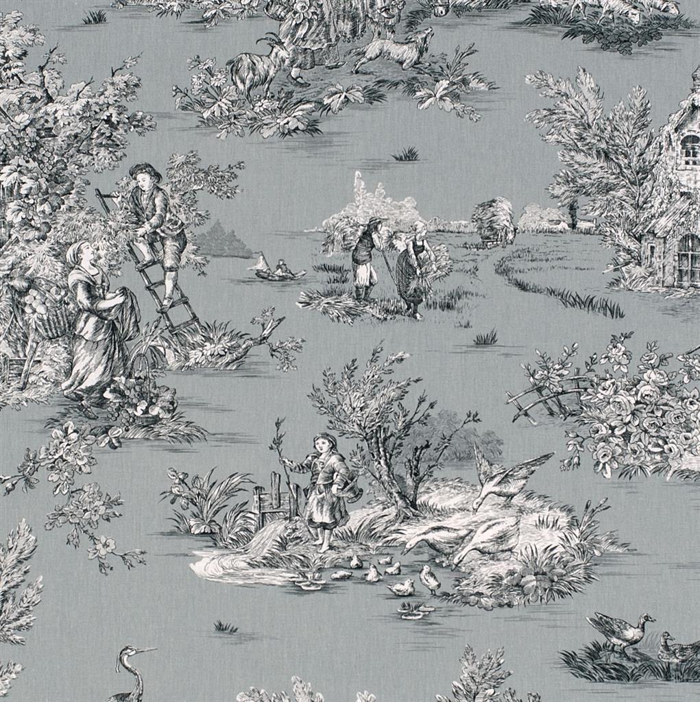 Pastoral Toile De Jouy Fabric In Grey