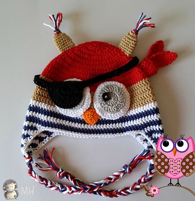 Free #Crochet pattern for a pirate owl winter hat! This is so weird ...