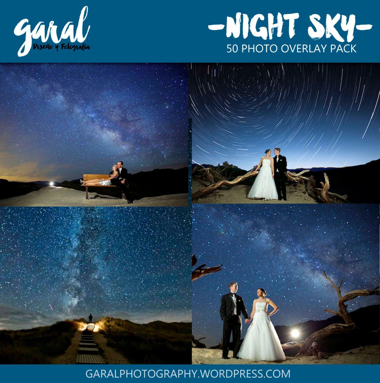 NIGHT SKY Photoshop Overlays, Backdrop Background, Night