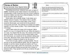 forms of matter common core reading comprehension worksheets 2nd grade reading. Black Bedroom Furniture Sets. Home Design Ideas