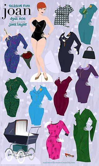 """Mad Men"" Joan and Megan paper dolls. Hmmm...."