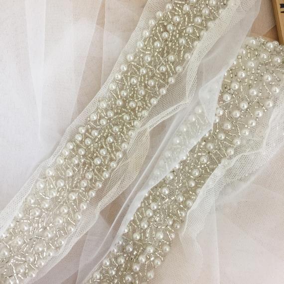 b9bf370ace177 1.8 yards Rhinestone Pearl Beaded Lace Trim for Bridal Belt Wedding ...