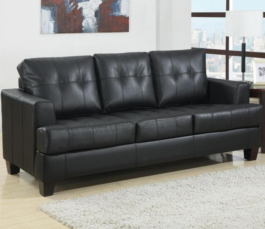 Leather Sofa Bed Queen Size   Black leather sofas, Leather ...