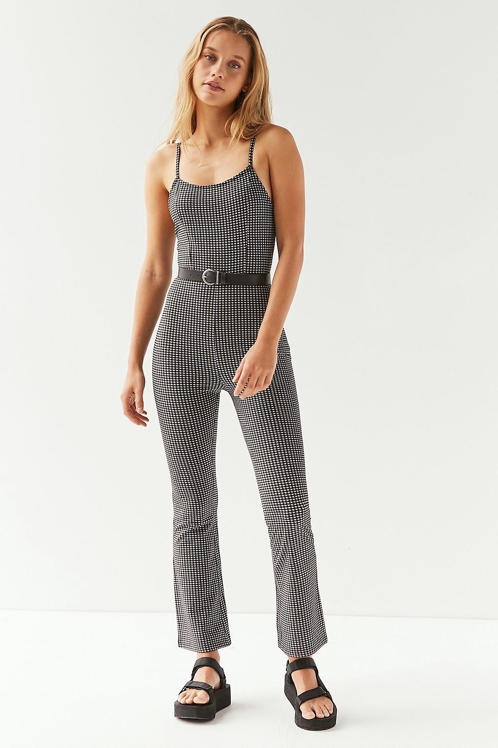 068d24062ca Urban Outfitters Uo Harlyn Bodycon Gingham Jumpsuit - Black + White ...