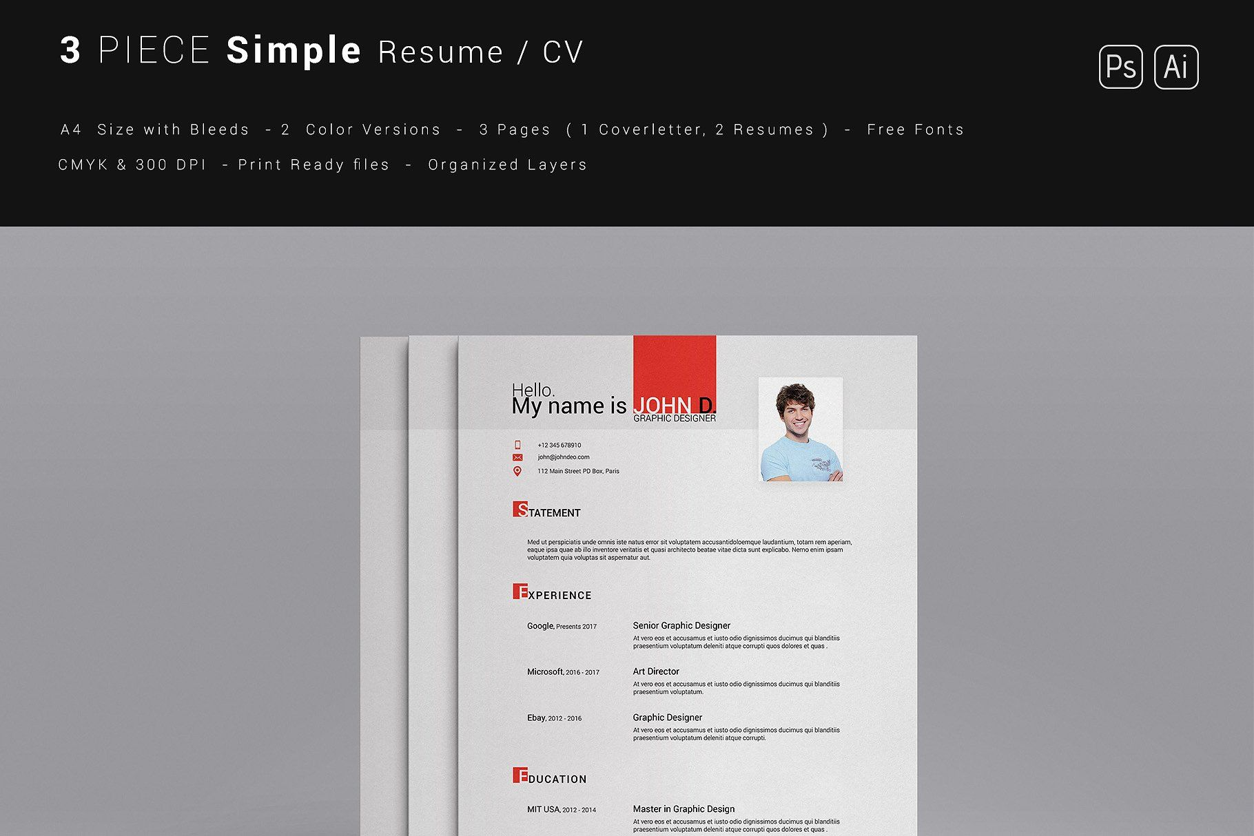 3 Piece Simple Resume by CreativeCrunk on creativemarket