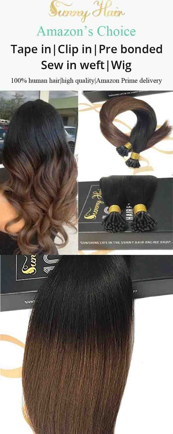 Sunny I Tip Remy Human Hair Extensions Ombre Color Natural Black To