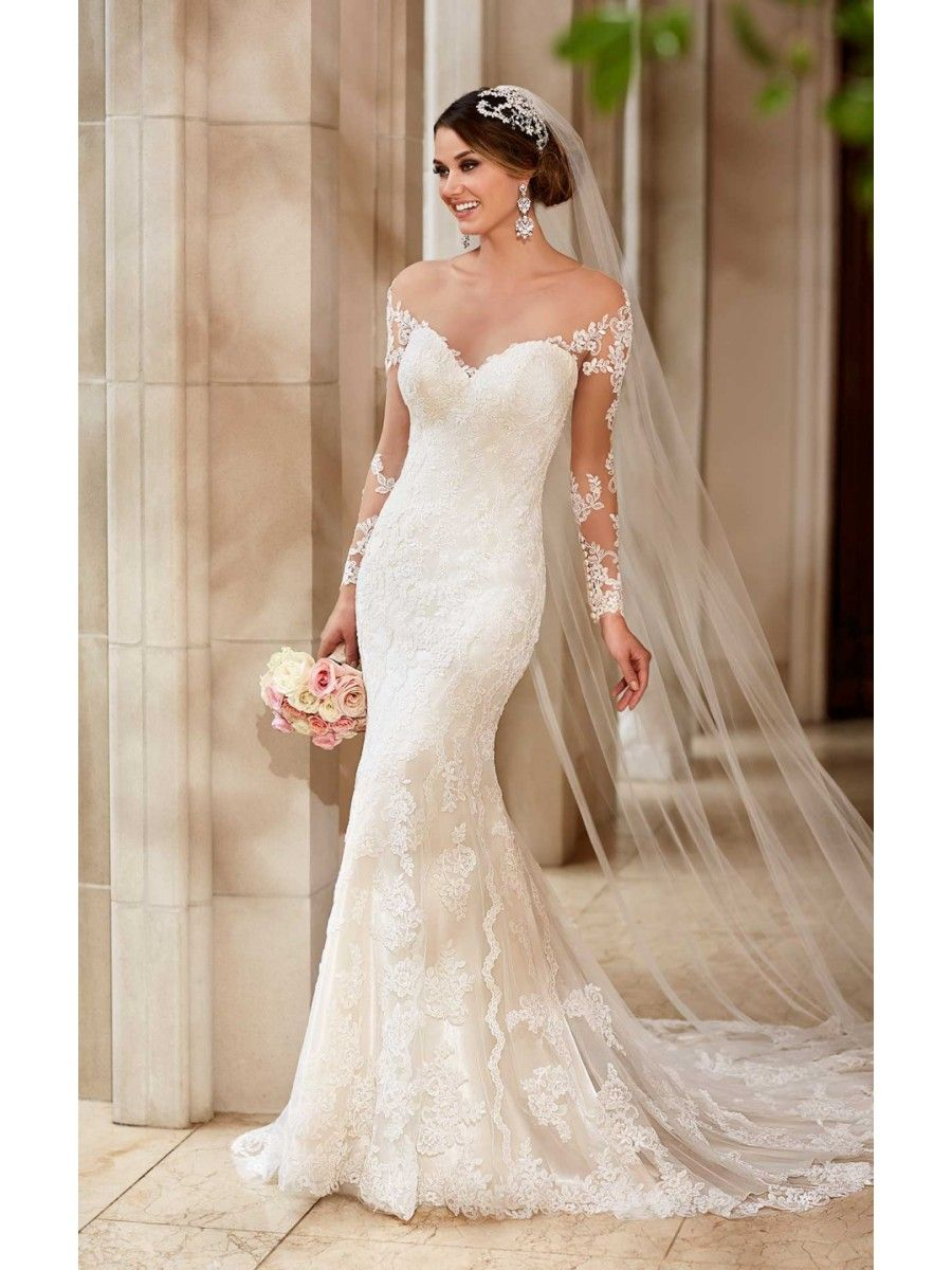 Beautiful long sleeves trumpetmermaid lace see through wedding