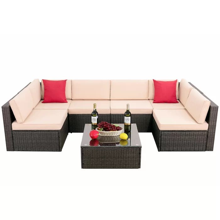Bump Outdoor 7 Piece Sectional Seating Group With Cushions Outdoor Sectional Sofa Outdoor Patio Furniture Sets Seating Groups