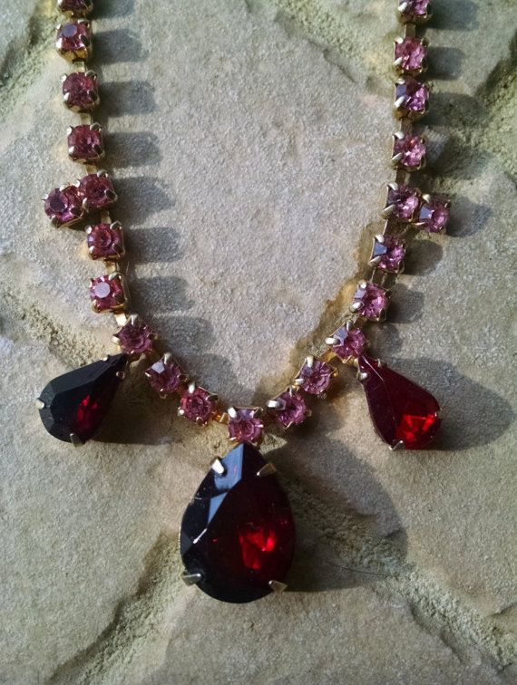 Rhinestone Necklace Pink Red Vintage Wedding Prom Jewelry Jewellery Accessory Hollywood Regency Waldorf Gift Guide Women