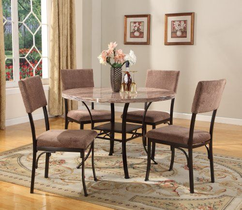 Roundhill Furniture 5Piece Round Artificial Marble Top Dining Set Interesting Hamlyn Dining Room Set Inspiration