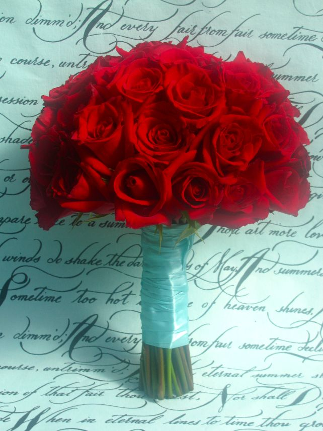 Red and turquoise bouquet.
